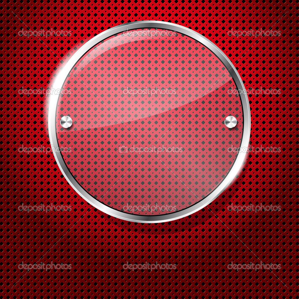 fondo rojo con marco de círculo de cristal para tu texto — Vector de ...