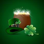 hrnec zlata, zelený klobouk a cloverleaf - st. patricks den symboly