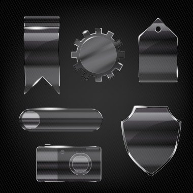 Set of glass transparent icons for any non-white background - vector illustration clip art vector