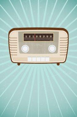Vintage radio on retro grungy background