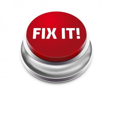 Red button FIX IT - isolated on white background