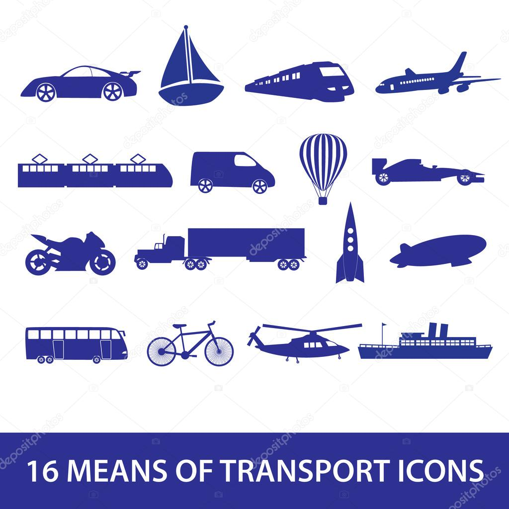 means of transport icon set eps10