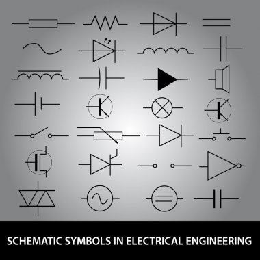 schematic symbols in electrical engineering icon set eps10