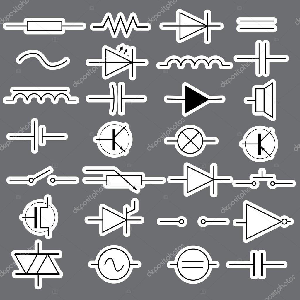 schematic symbols in electrical engineering stickers eps10 — Stock ...