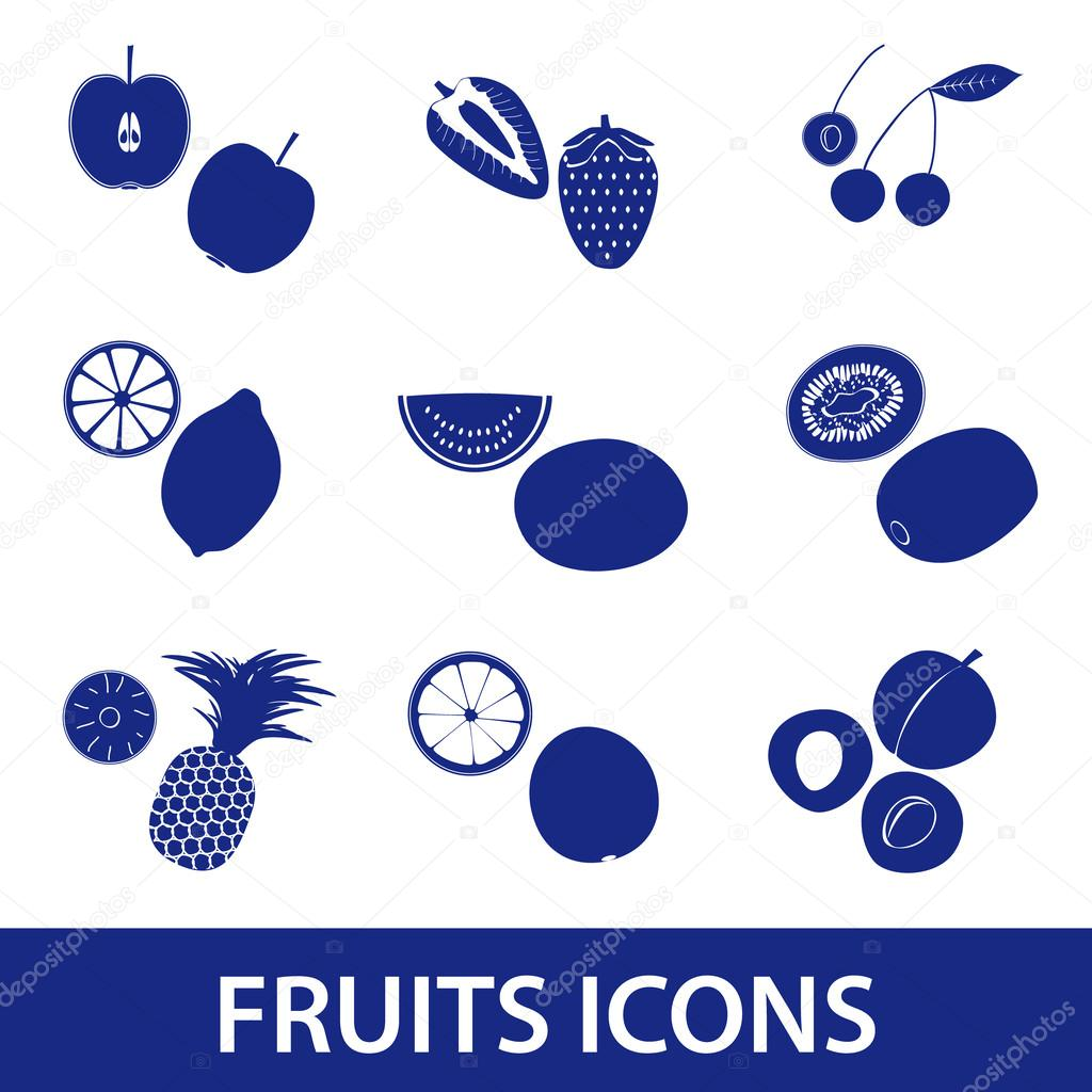 fruits and half fruits icons eps10