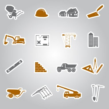 Construction stickers set eps10 clip art vector