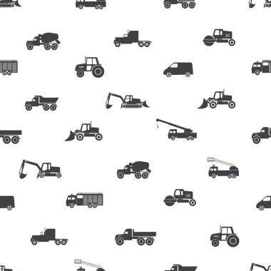 heavy machinery icons seamless pattern eps10
