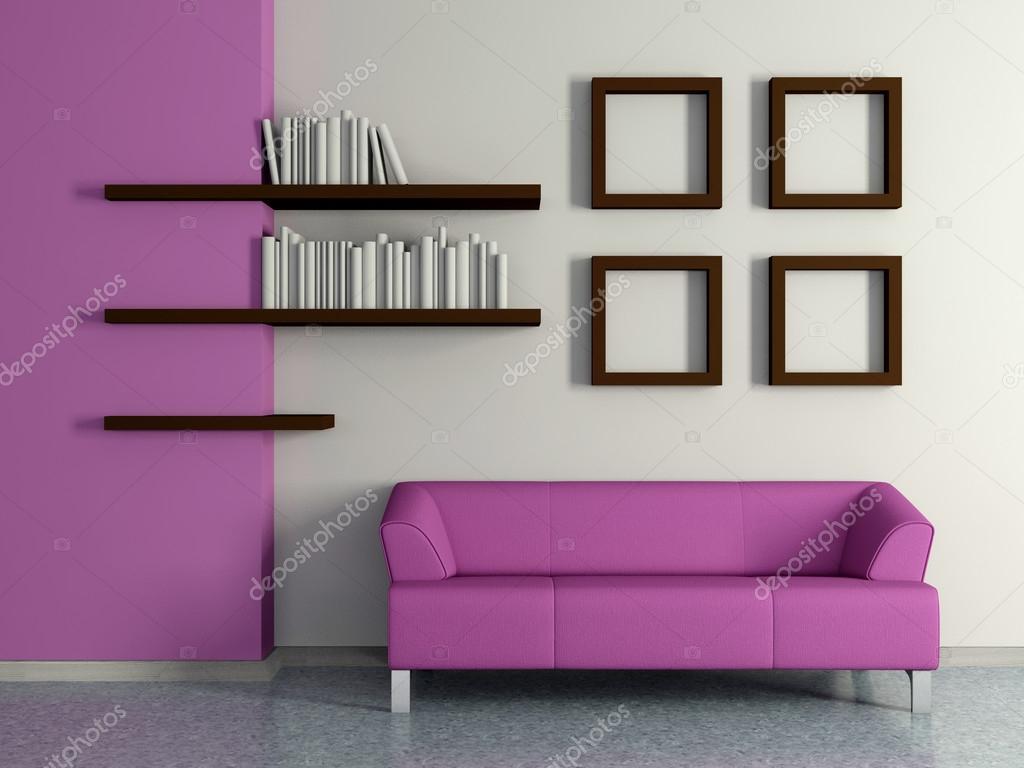 Bücherregale Modern moderne wohngebäude mit sofa vier gemälde und bücherregale