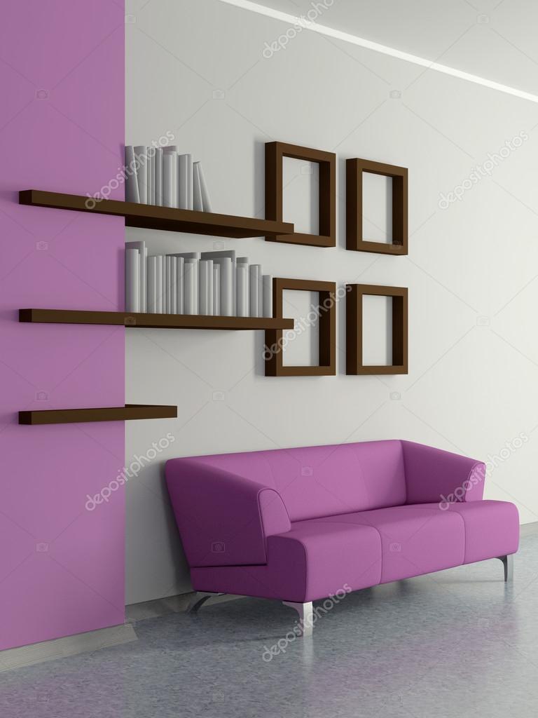 moderno casero interior con sof cuatro cuadros y estantes para libros u foto de stock