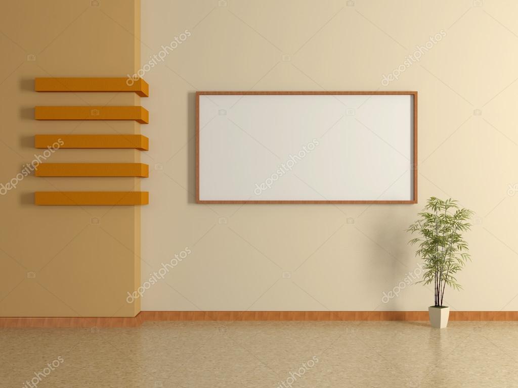 Interno di casa moderna con pianta da vaso e pittura 3d - Pittura casa moderna ...