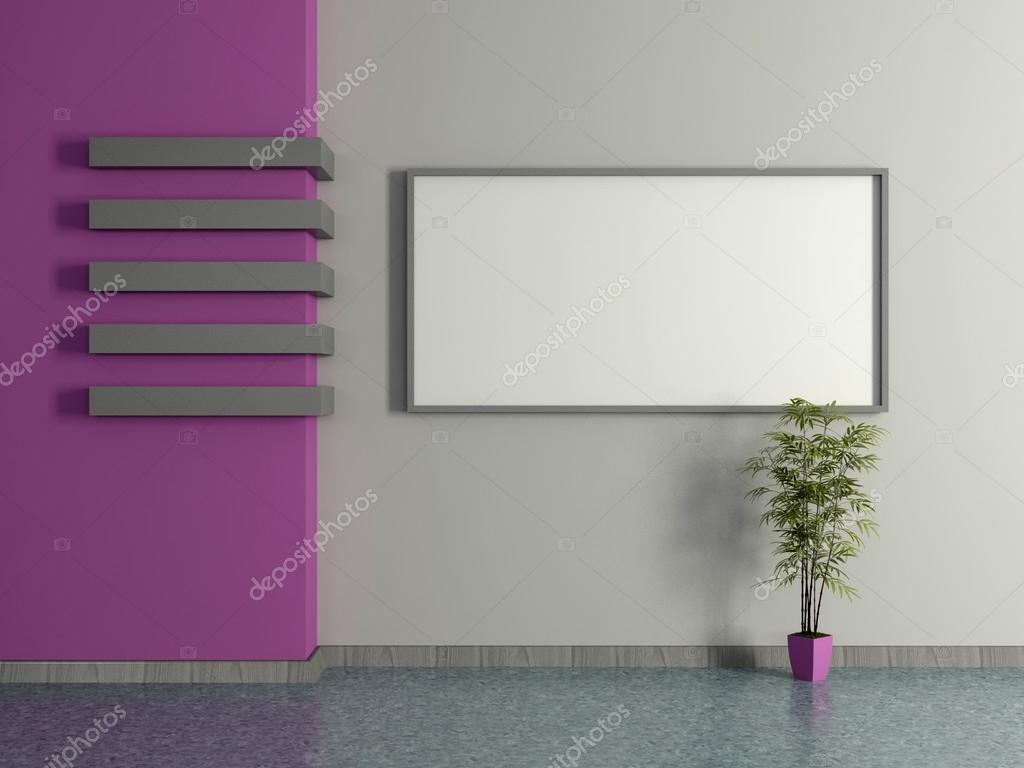 Interior casa moderna con planta en maceta y pintura 3d for Pintura casa moderna