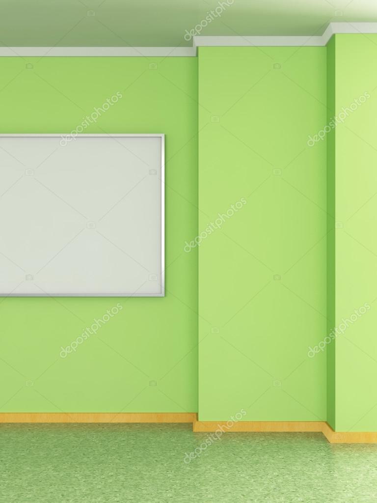 Interno Di Casa Moderna Con Parete Verde Pea E Pittura 3d Foto