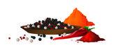 černá, červená, bílá chilli koření ve vektoru