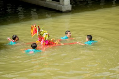 Chinese Goddess Palanquins Are Carried Across The River