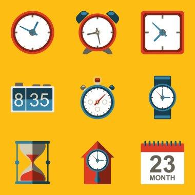 Flat icon set. Time. Clock