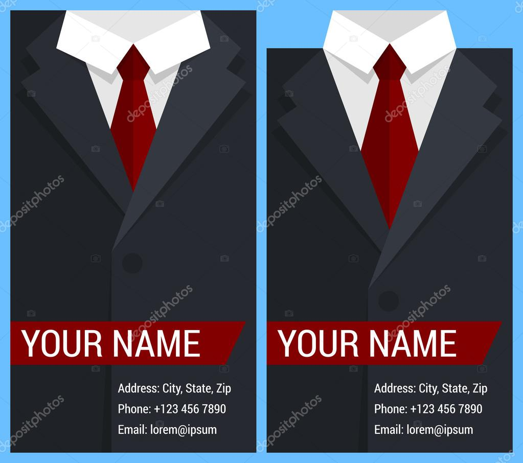 Flat business card template with black jacket