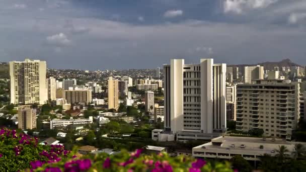 Honolulu timelapse z Národní památník cemetry o Pacifik, oahu, hawaii