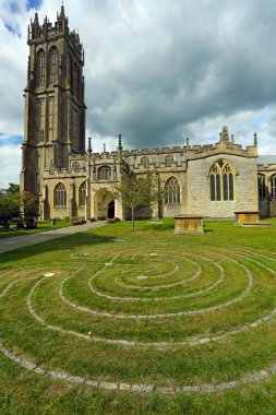 Labyrinth in front of Church of St. John in Glastonbury town, Somerset, England, UK