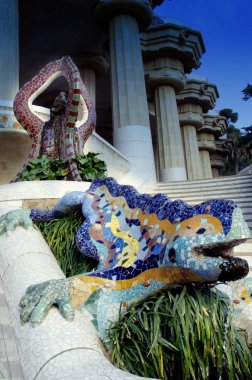 Dragon fountain in park Guell in Barcelona