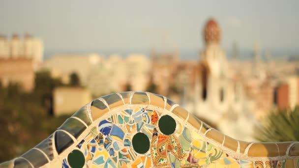 Barcelona skyline from rooftop of Gaudi building