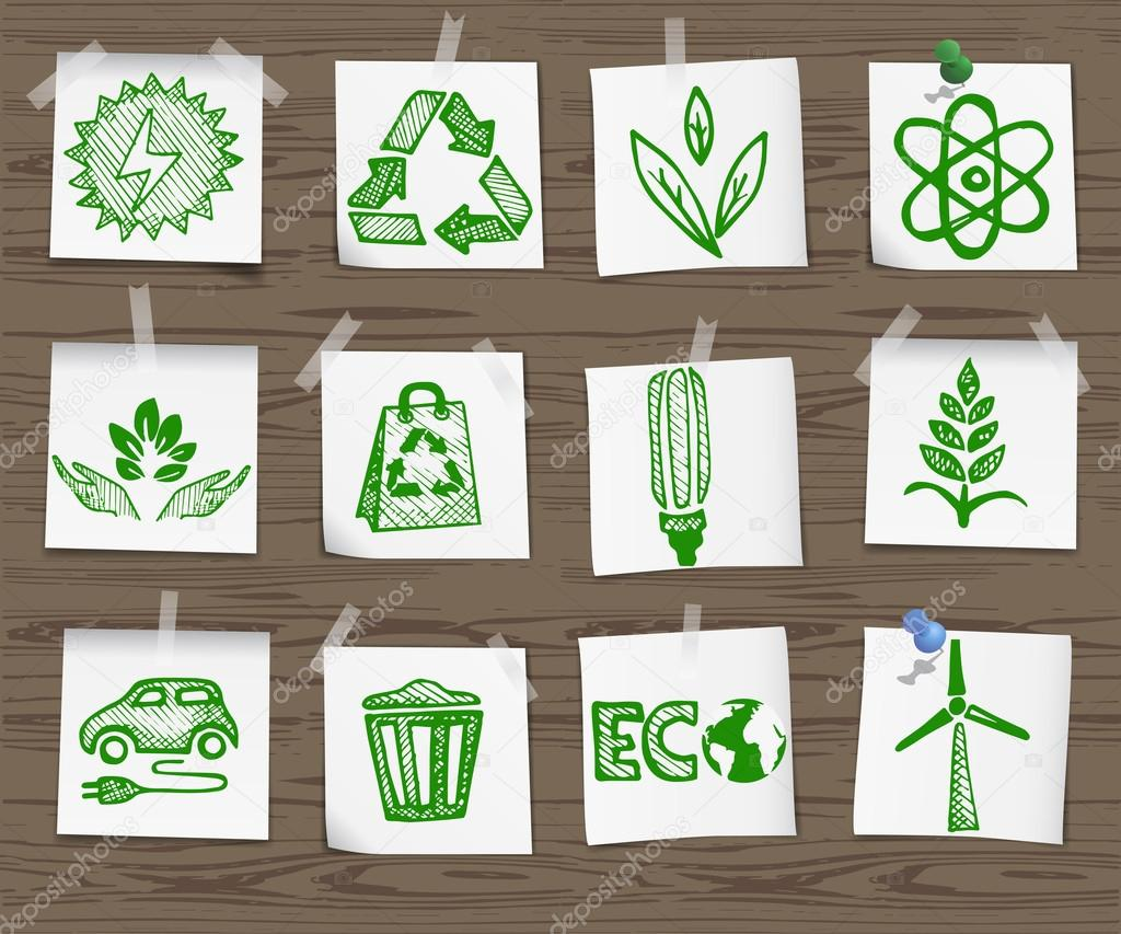 Ecology sketchy icons on wooden board set1