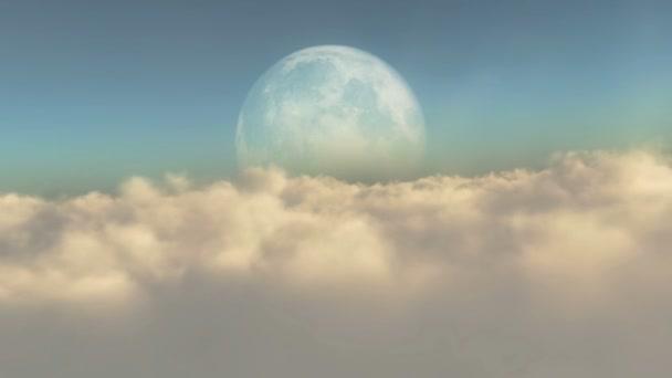 abstraktní létání nad mraky a úplněk