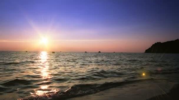 naplemente, tenger hulláma