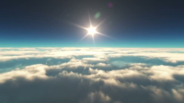 fliegen in Wolken Sonnenuntergang