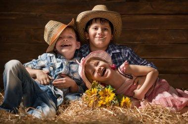 Children on hay