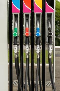 Fuel pump nozzles close up stock vector