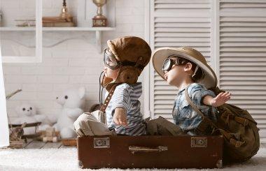Boys preparing to travel