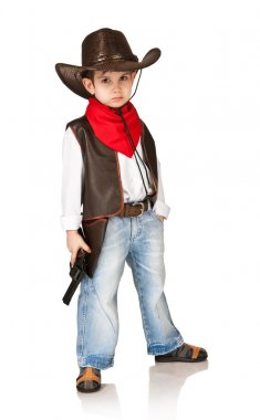 Little boy in suit of cowboy on a white background stock vector