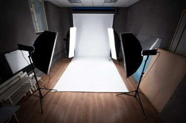 Interior and equipment of a photographic studio ready for realization of photosession stock vector