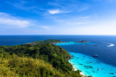 Aerial view of a beach from viewpoint of similan island