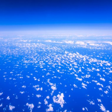 Beautiful cloudy sky view from air plane window