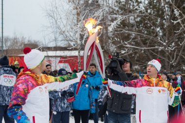 Novosibirsk, Russia - December 7 Passing the torch relay, in Nov