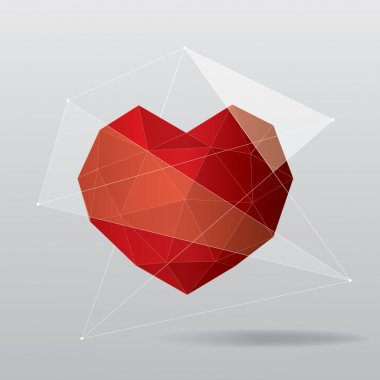 Red geometric heart background clip art vector