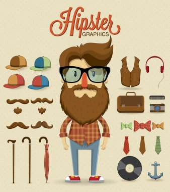 Hipster character design with hipster elements and icons. stock vector