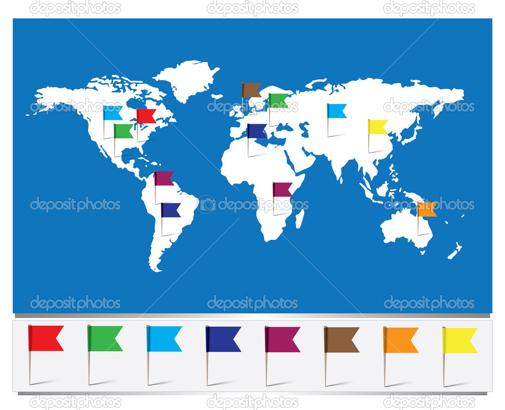 Worldmap with flag pins stock vector smithytomy 38960345 worldmap with flag pins stock vector 38960345 gumiabroncs Images