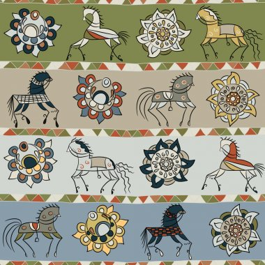 Seamless texture with horses, flowers, and patterns