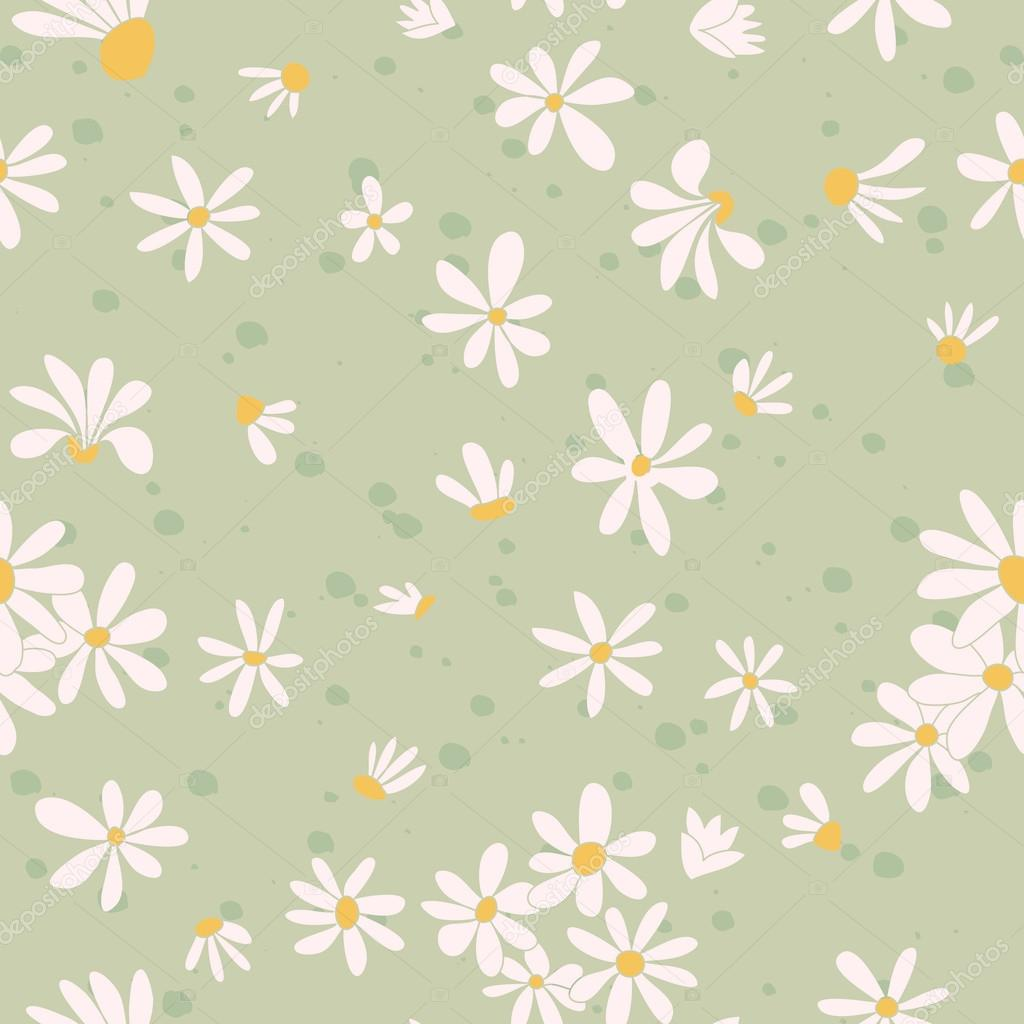 Seamless texture with pictures of flowers. Chamomile.