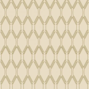 Ornament of vegetable culture. spikelets. wheat ear. Retro color beige. Use as Wallpaper, seamless background