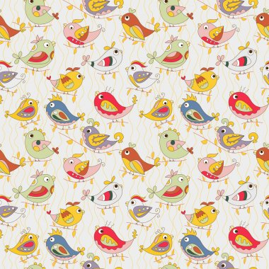 colorful parrots in jungle. funny seamless pattern