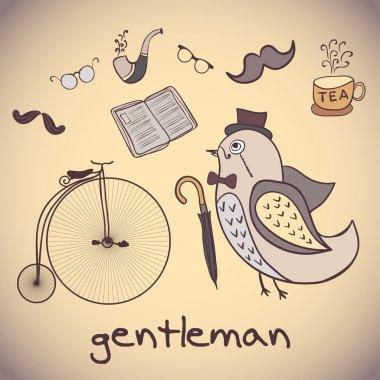 Illustration, bird gentleman