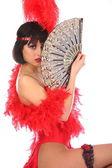 burleszk táncos, rövid ruha, elszigetelt fehér és piros színű