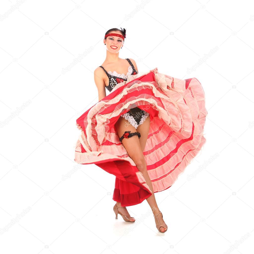 afaaf4b07 dançarina burlesca com vestido longo vermelho para can-can