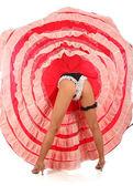 Fényképek бурлеск танцюрист з червоним Довге плаття для Кан Кан, ізольовані на білому