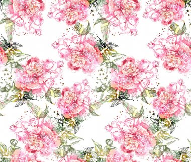 Peonies Seamless Pattern background illustration stock vector