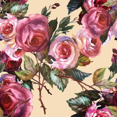Roses seamless pattern stock vector