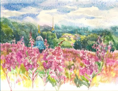 Blooming willow-herb and blue church